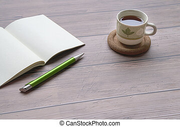 tavola., penna, blocco note, aperto, legno, caffè