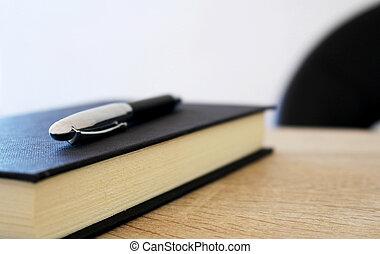 tavola, penna, carta, blocco note