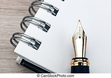 tavola, penna, legno, blocco note, fontana