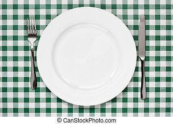 tavola, percalle, regolazione, verde, tablecoth