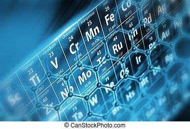 tavola, periodico, molecole