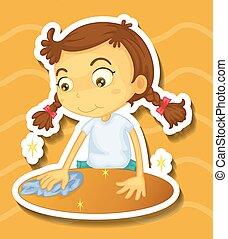 tavola, piccola ragazza, pulizia