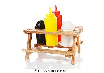 tavola picnic, con, sale pepe