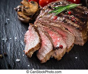 tavola, pietra, bistecca, manzo