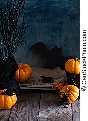 tavola, poco, zucche, halloween