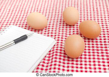 tavola, pollo, egges