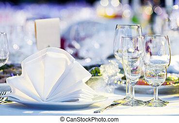tavola, primo piano, set, ristorazione