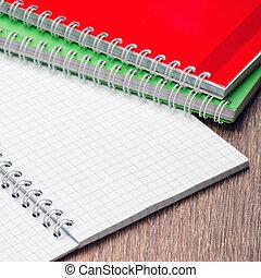 tavola, quaderno, blocco note, due, aperto