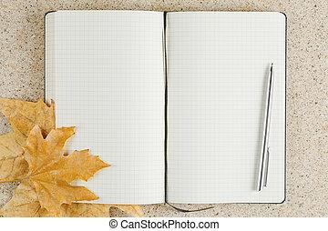 tavola, quaderno, foglie, dorato, aperto