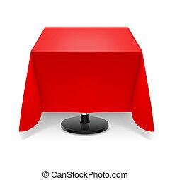 tavola, quadrato, tablecloth., rosso