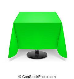 tavola, quadrato, verde, tablecloth.