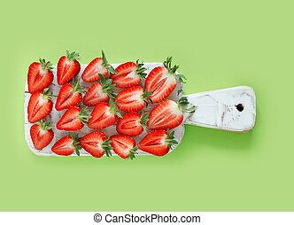 tavola., raccogliere, verde, delicato, sparso, fondo., fragole fresche