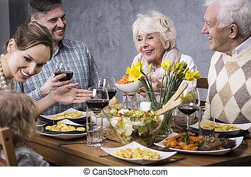 tavola, raccolto, cena, famiglia