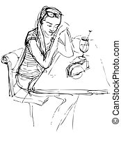 tavola, ragazza, caffè