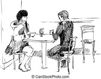tavola, ragazza, tipo