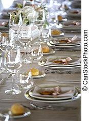 tavola, regolazione, ricezione, matrimonio