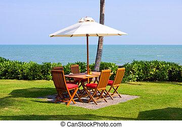 tavola, regolazione, spiaggia, ristorante