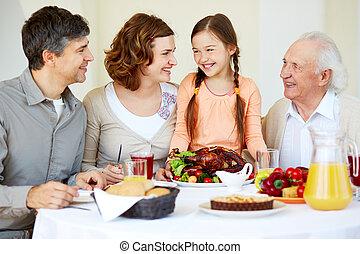 tavola, ringraziamento, famiglia