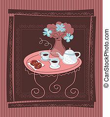 tavola, romantico, fondo