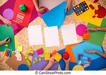 tavola, scuola, accessori