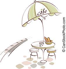 tavola, sedia, caffè esterno