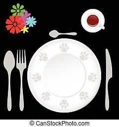 tavola, set, cenando