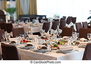 tavola, set, per, evento, festa, o, ricezione matrimonio