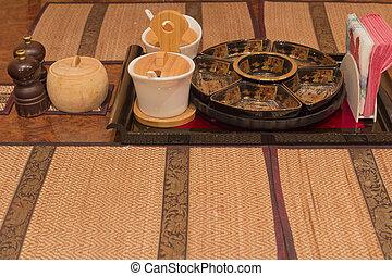 tavola, set, per, uno, tavola cena, con, uno, sfocato, fondo.