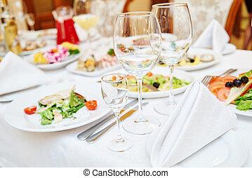 tavola, set, service., ristorazione