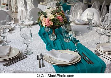 tavola,  set, su, Eleganza, matrimonio