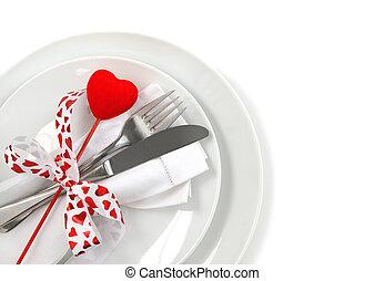 tavola, setting posto, per, giorno valentine