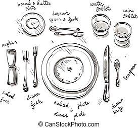 tavola, setting., vettore, sketch.