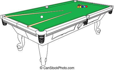 tavola, snooker, biliardo, prospettiva