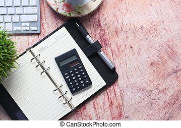 tavola, spazio, calcolatore, legno, blocco note, matita, copia
