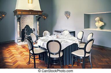 tavola, stanza, vuoto, lusso