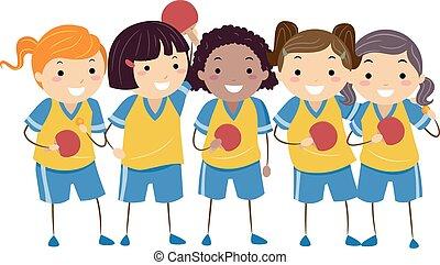tavola, stickman, bambini, ragazze, tennis