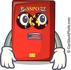 tavola, timoroso, rosso, passaporto, mascotte