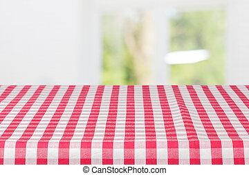 tavola, tovaglia, checkered, coperto