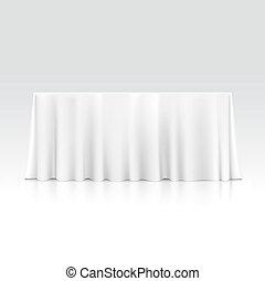 tavola, tovaglia, vettore, vuoto, rettangolare