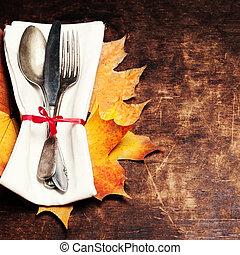 tavola, vacanza, vista, fondo, coltello, tavola., forchetta...