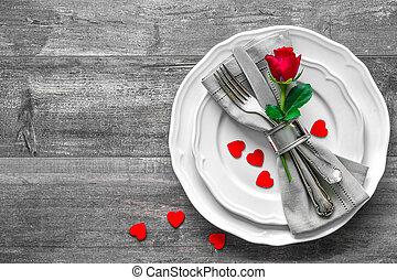 tavola, valentines, posto, giorno, regolazione