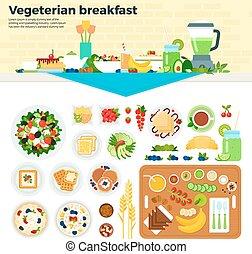 tavola, vegetariano, colazione