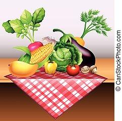 tavola, verdura, frutta, fresco