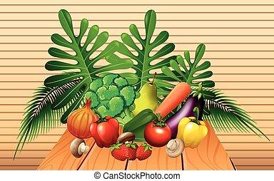 tavola, verdura, frutte