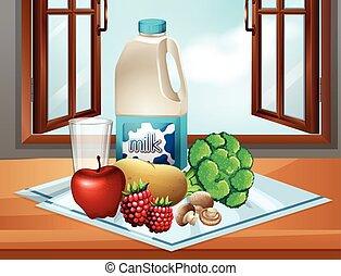 tavola, verdura, latte, fresco