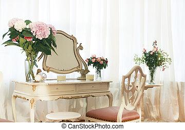 tavola veste, con, fiori