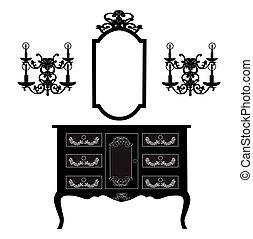 tavola veste, e, specchio, cornice, e, lampade parete