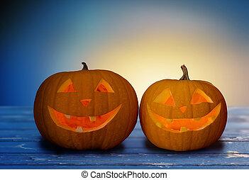 tavola, zucche, halloween, fine