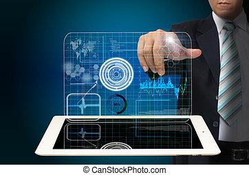 tavoletta, affari, virtuale, mano, tocco,  computer, interfaccia, uomo