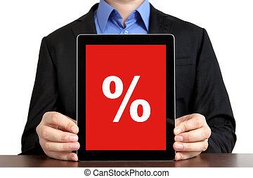 tavoletta, aggeggio, percento, scontare, computer, cuscinetto, presa a terra, completo, tocco, uomo affari, schermo, rosso